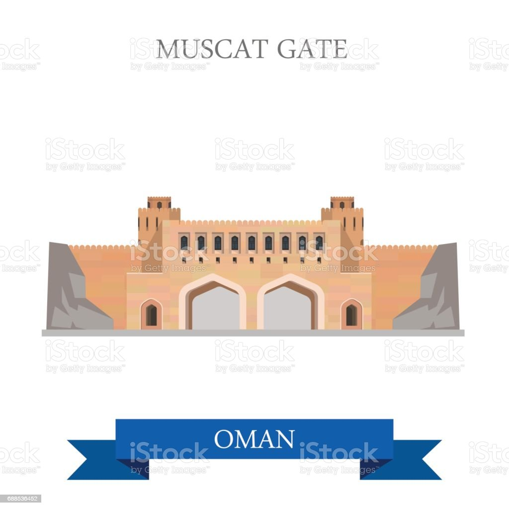Muscat Gate in Oman. Flat cartoon style historic sight showplace attraction web site vector illustration. World countries cities vacation travel sightseeing Asia collection. vector art illustration