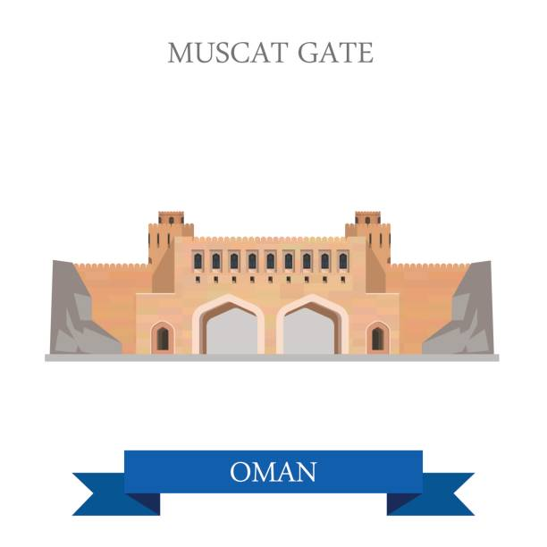 muscat gate in oman. flat cartoon style historic sight showplace attraction web site vector illustration. world countries cities vacation travel sightseeing asia collection. - oman stock illustrations