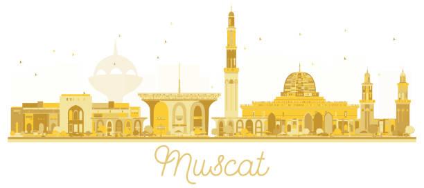 muscat oman city skyline golden silhouette. - oman stock illustrations