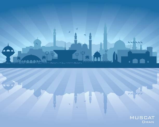 muscat oman city skyline silhouette - oman stock illustrations