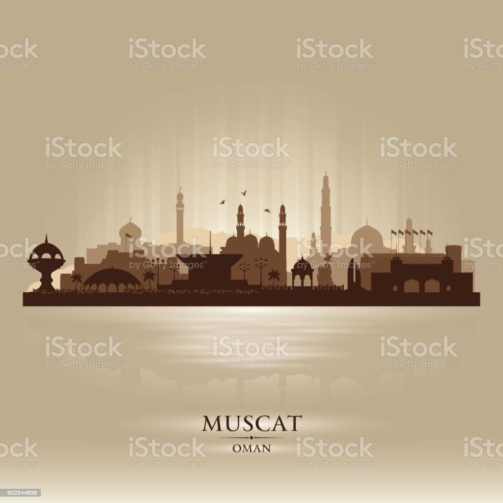 Muscat Oman city skyline silhouette