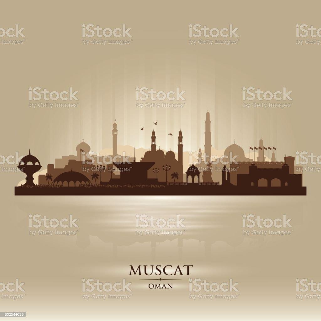 Muscat Oman city skyline silhouette vector art illustration