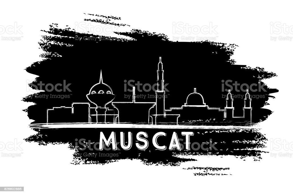 Muscat Oman Skyline Silhouette. Hand Drawn Sketch. vector art illustration