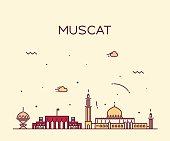 Muscat skyline trendy vector illustration linear
