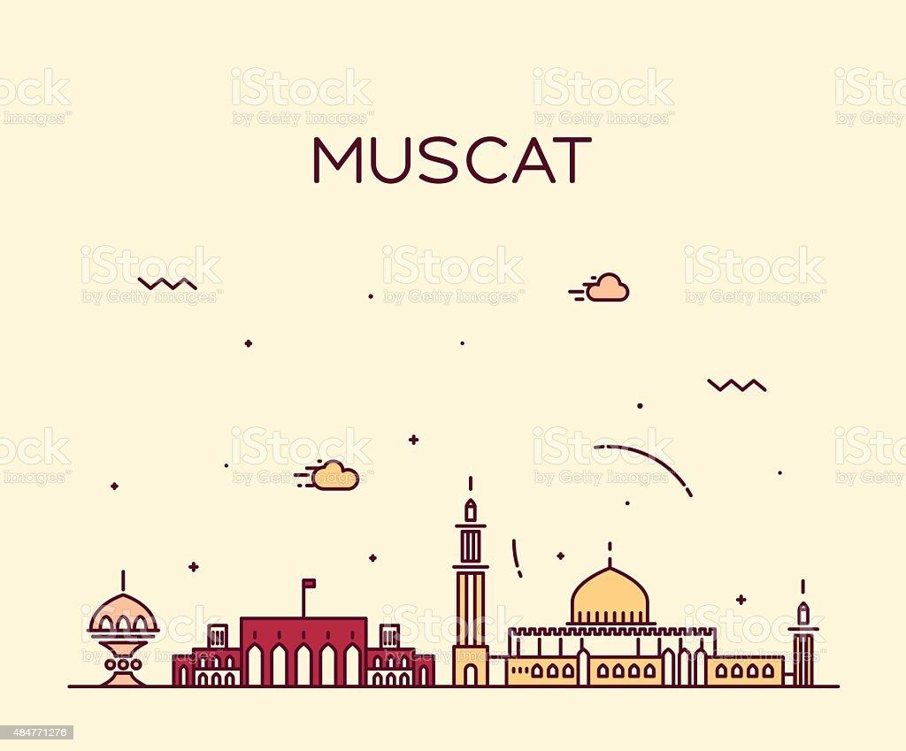 Muscat skyline trendy vector illustration linear vector art illustration