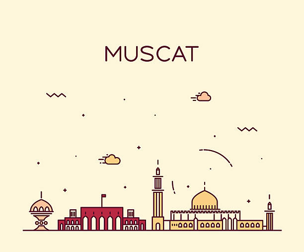 muscat skyline trendy vector illustration linear - oman stock illustrations