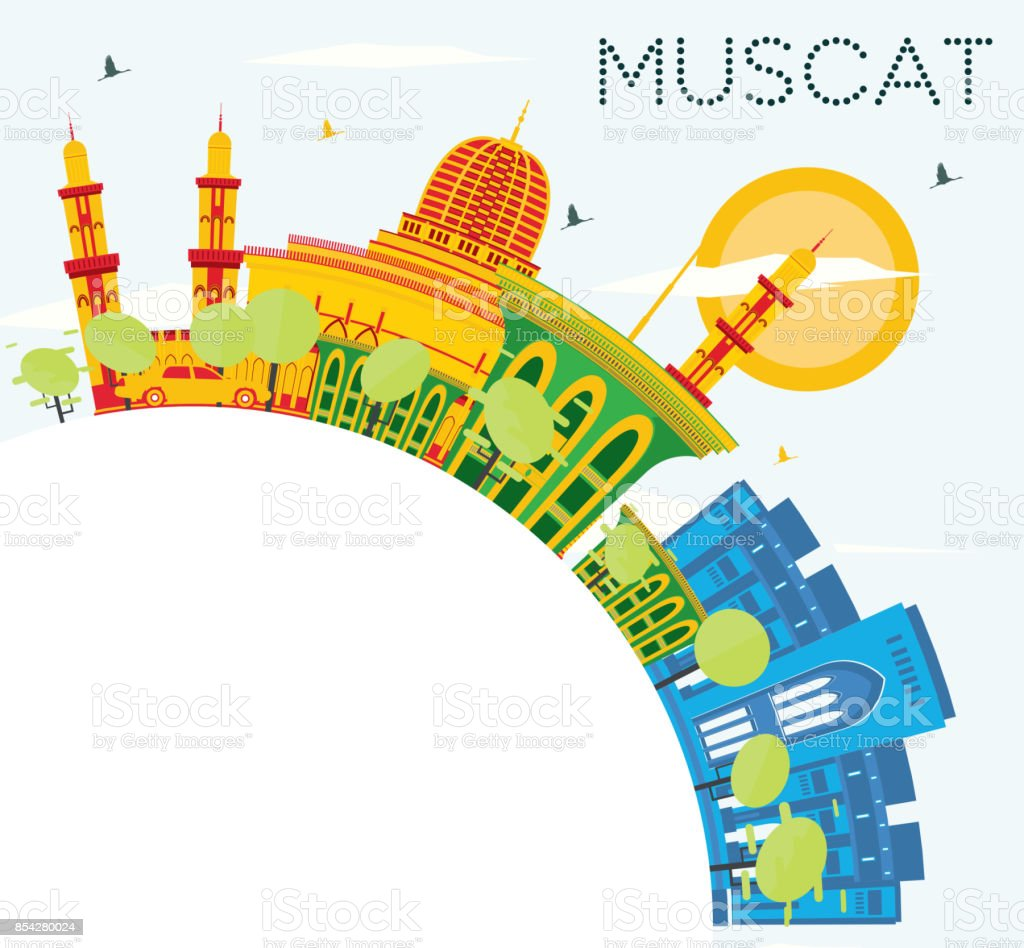 Muscat Skyline with Color Buildings, Blue Sky and Copy Space. vector art illustration