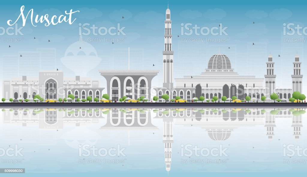 Muscat Skyline with Gray Buildings, Blue Sky and Reflections. vector art illustration