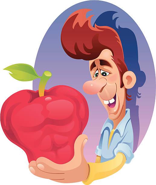 bildbanksillustrationer, clip art samt tecknat material och ikoner med musclar apple - gym skratt