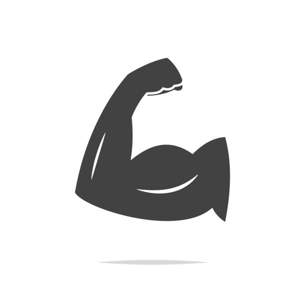 Muscle arm icon vector isolated vector art illustration