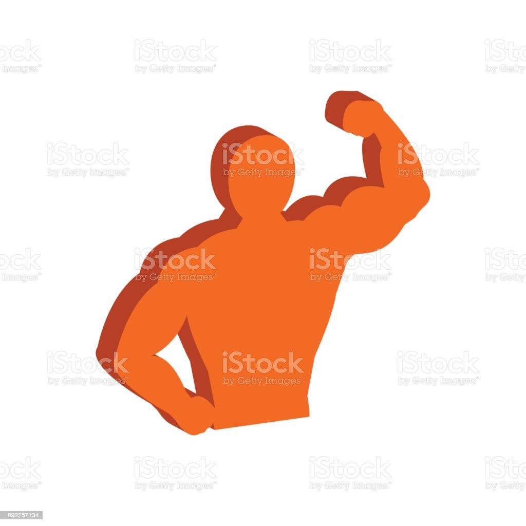 Symbole musculaire corps, musculation, Fitness. Icône plate isométrique ou Logo. Pictogramme de Style 3D pour le Web Design, l'interface utilisateur, application Mobile, infographie. - Illustration vectorielle