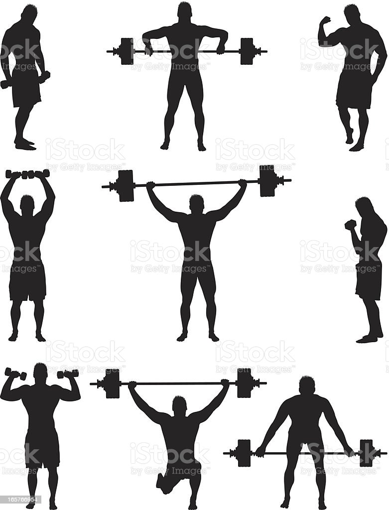 Muscle bound man lifting weights vector art illustration