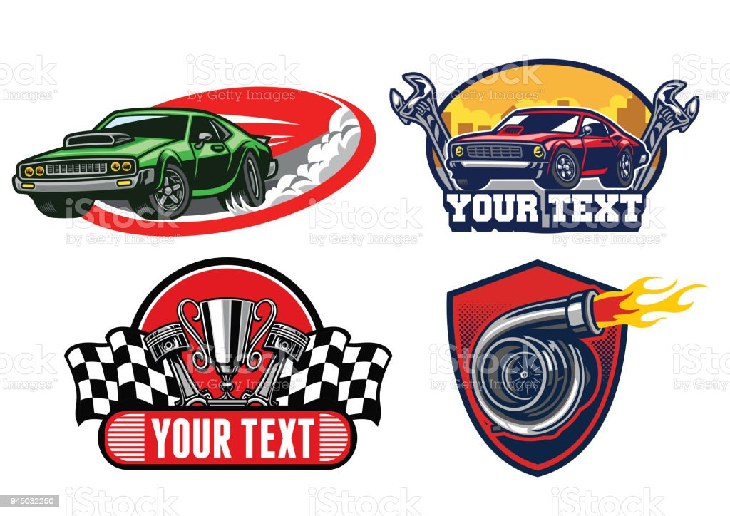 muscle car badge design vector art illustration
