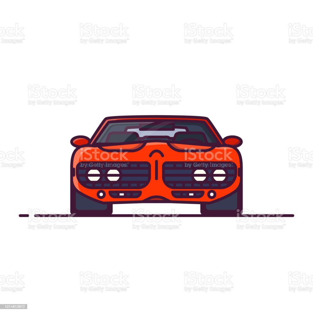 Muscle Car Front View Stock Vector Art More Images Of Art