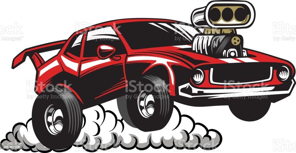 Muscle-Car look mit Kompressormotor – Vektorgrafik