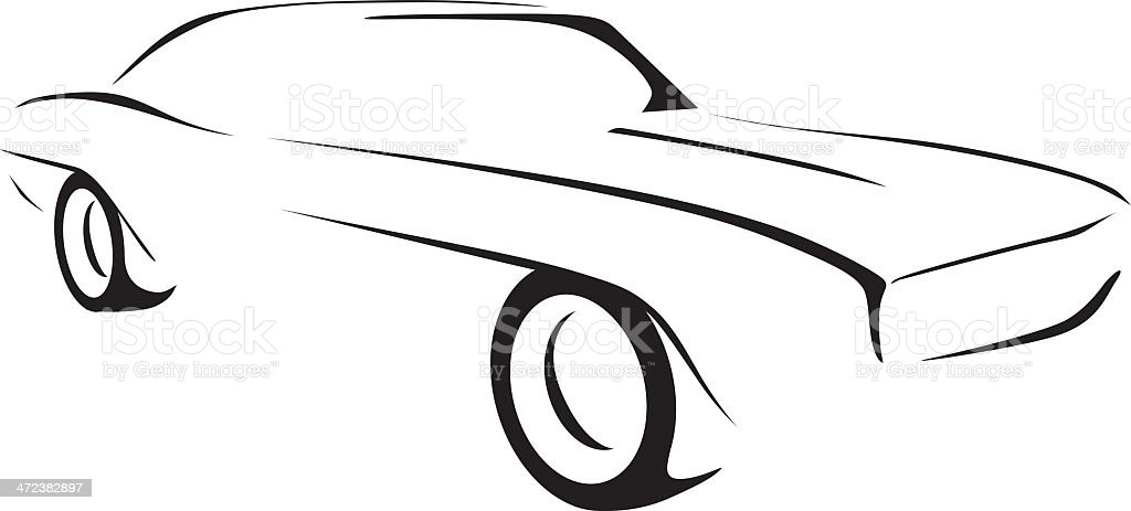 muscle car outline stock vector art more images of 1969 472382897 rh istockphoto com smart car outline vector sports car outline vector
