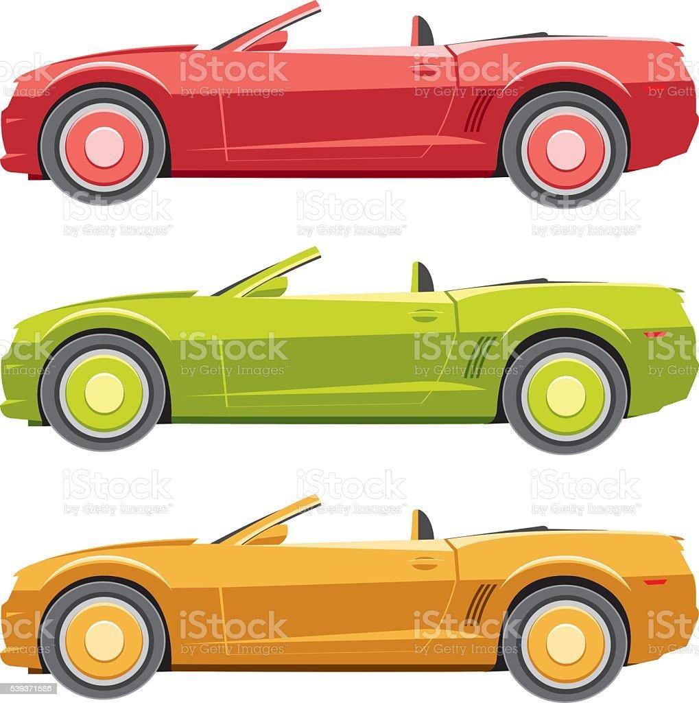 Muscle car set vector art illustration