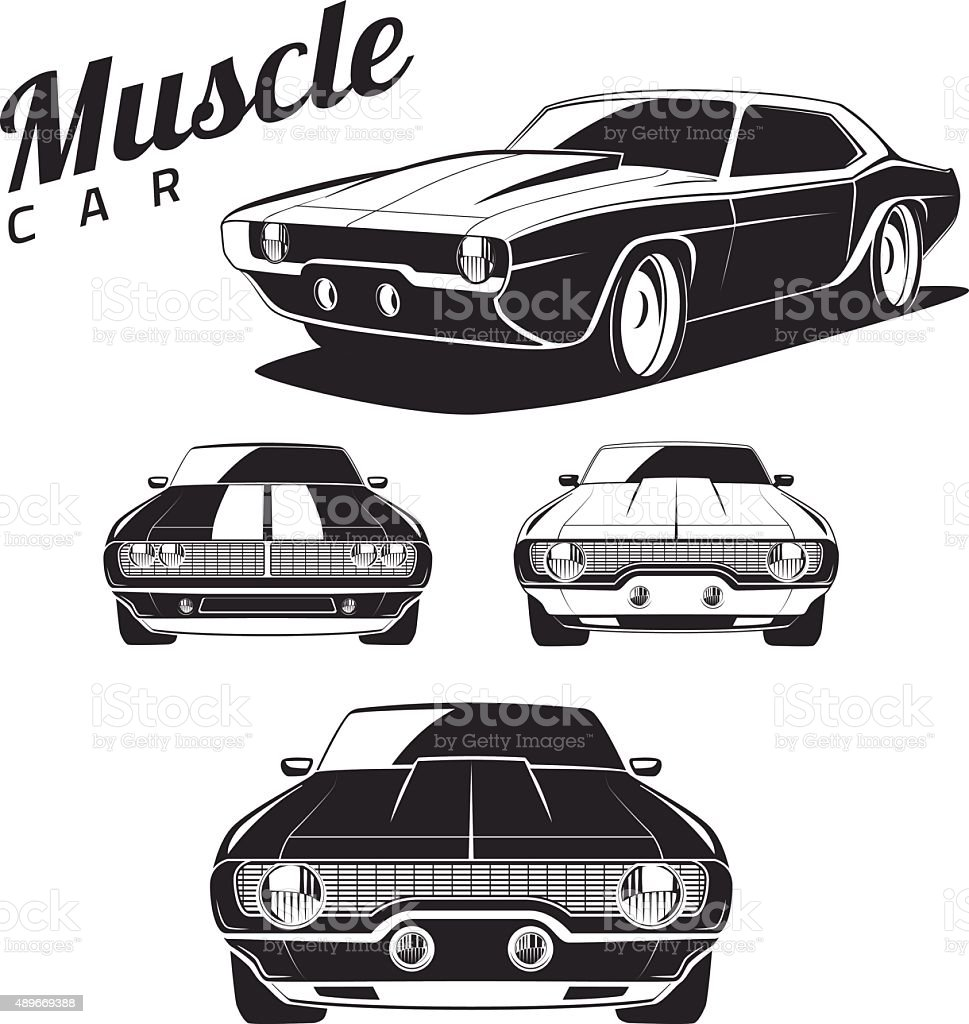 Muscle car tamplates for icons and emblems isolated vector art illustration