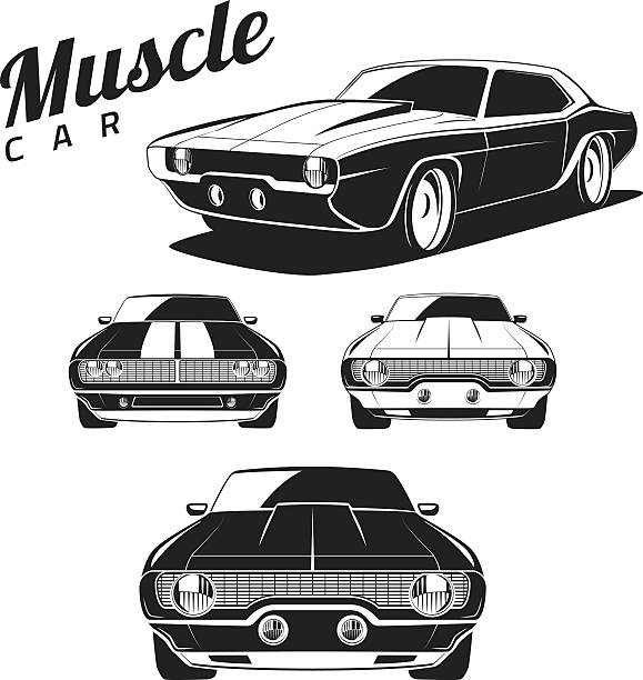 Muscle car tamplates for icons and emblems isolated Set of muscle car tamplates for icons and emblems isolated on white background. Front view and isometric view. sports car stock illustrations