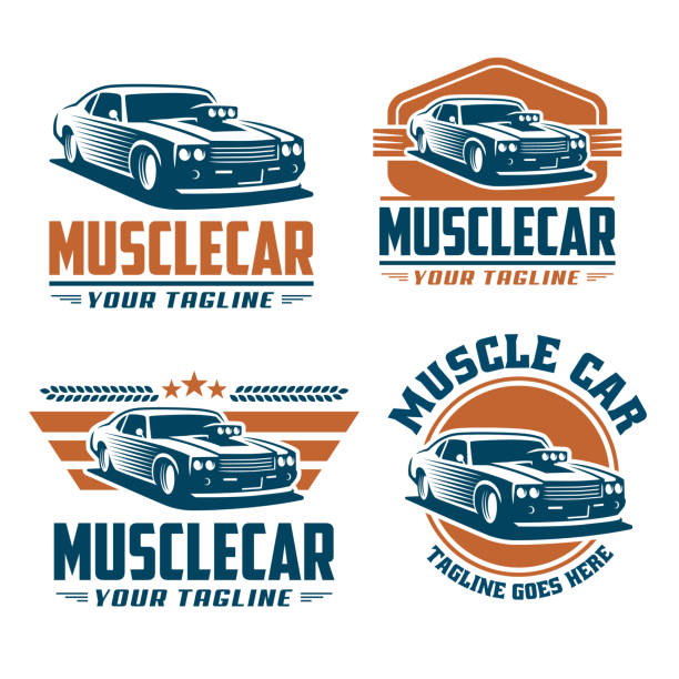 Muscle car template, retro style, vintage design Template of Muscle car, retro style, vintage design. Perfect for all automotive industry. sports car stock illustrations
