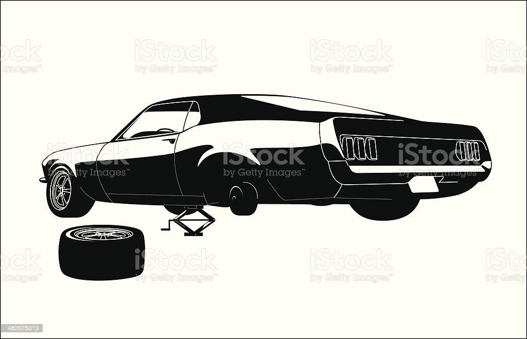 muscle car tire repair royalty-free stock vector art