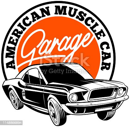 American muscle car illustration on garage banner