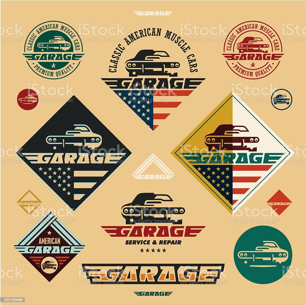 muscle cars garage vintage style labels vector art illustration
