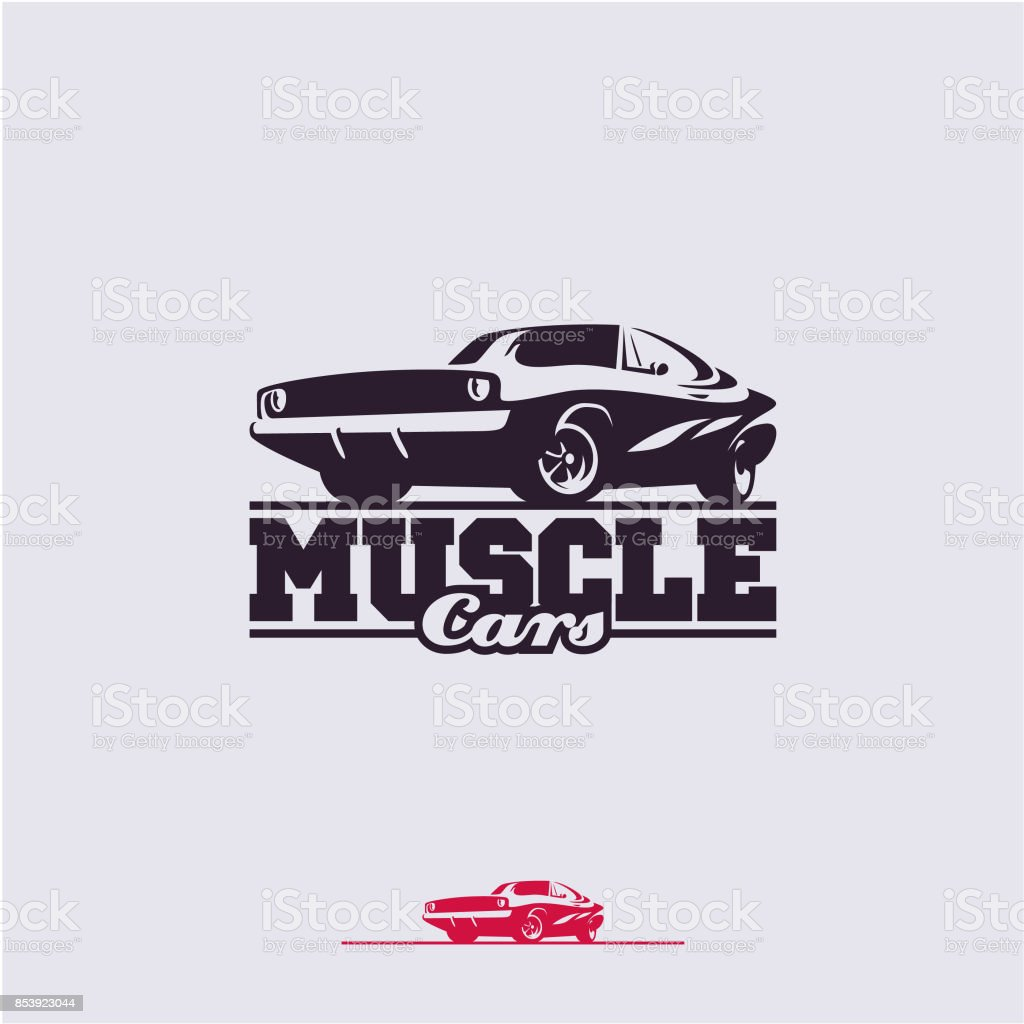 muscle cars label vector art illustration