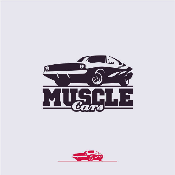 muscle cars label muscle cars label, vector muscle car icon sports car stock illustrations