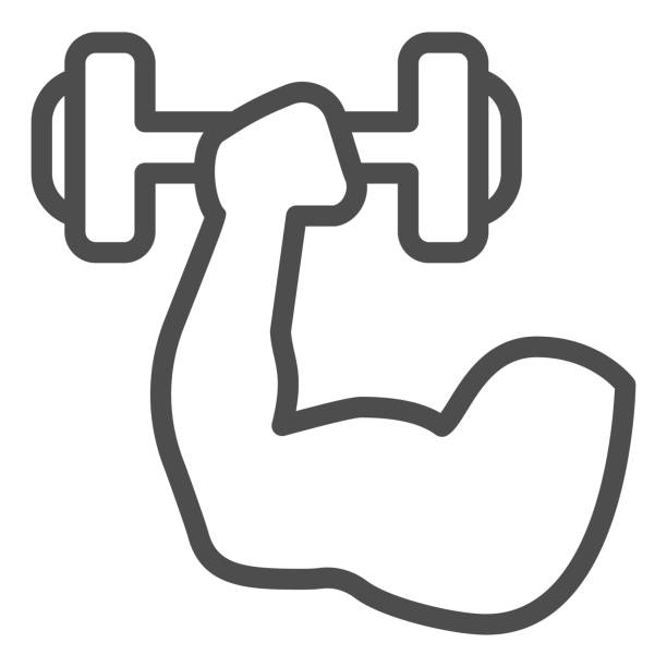 Muscle hand with weights line and solid icon. Sport muscular arm holding dumbbell symbol, outline style pictogram on white background. Fitness sign for mobile concept and web design. Vector graphics. Muscle hand with weights line and solid icon. Sport muscular arm holding dumbbell symbol, outline style pictogram on white background. Fitness sign for mobile concept and web design. Vector graphics human limb stock illustrations