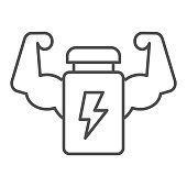Muscle hands with bottle line and solid icon. Protein energy drink and arms symbol, outline style pictogram on white background. Sport or fitness sign for mobile concept, web design. Vector graphics