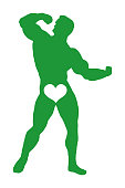 Muscle Man Flexing With Heart