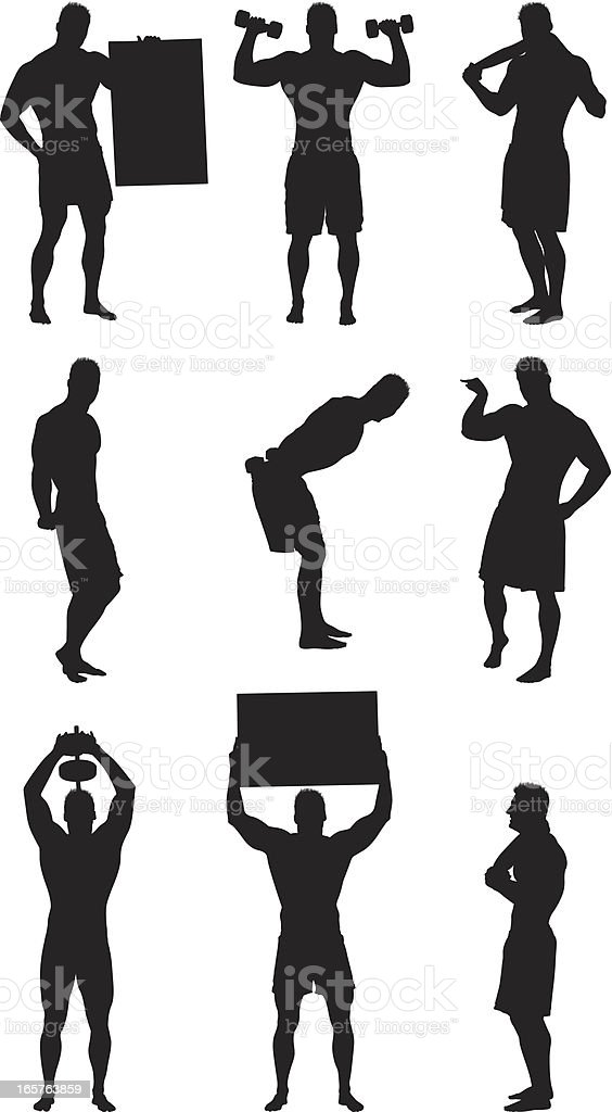 Muscle man silhouettes flexing and posing royalty-free stock vector art