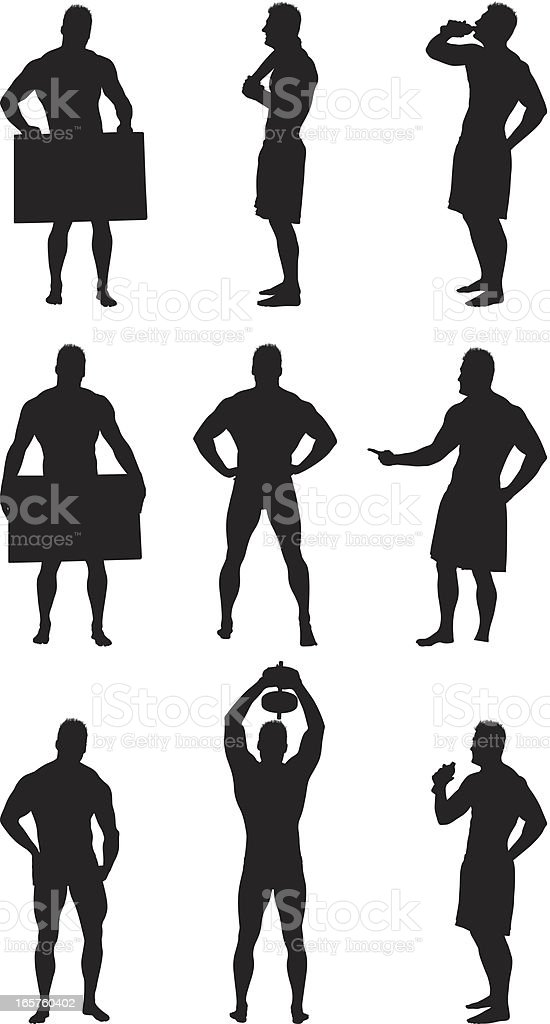 Muscle man silhouettes royalty-free stock vector art