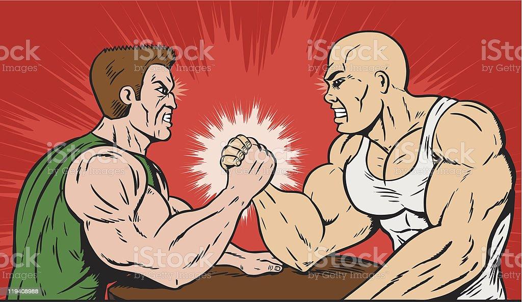 Muscle men arm wrestling. vector art illustration