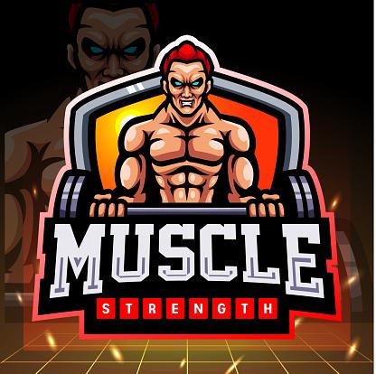Muscle strength mascot.   logo design