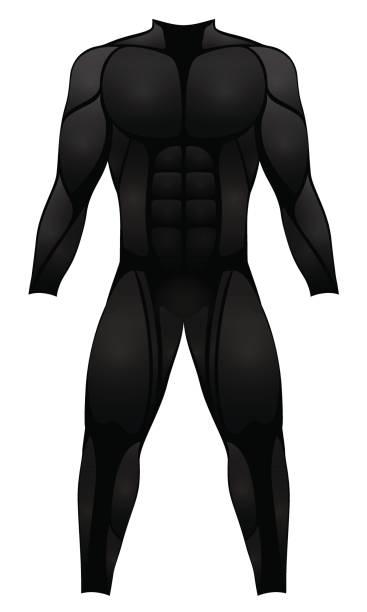 muskelanzug - schwarze sportkleid, neoprenanzug, held kostüm oder fetisch gummi latex kleidungsstück - isoliert vektor-illustration auf weißem hintergrund. - catsuit stock-grafiken, -clipart, -cartoons und -symbole