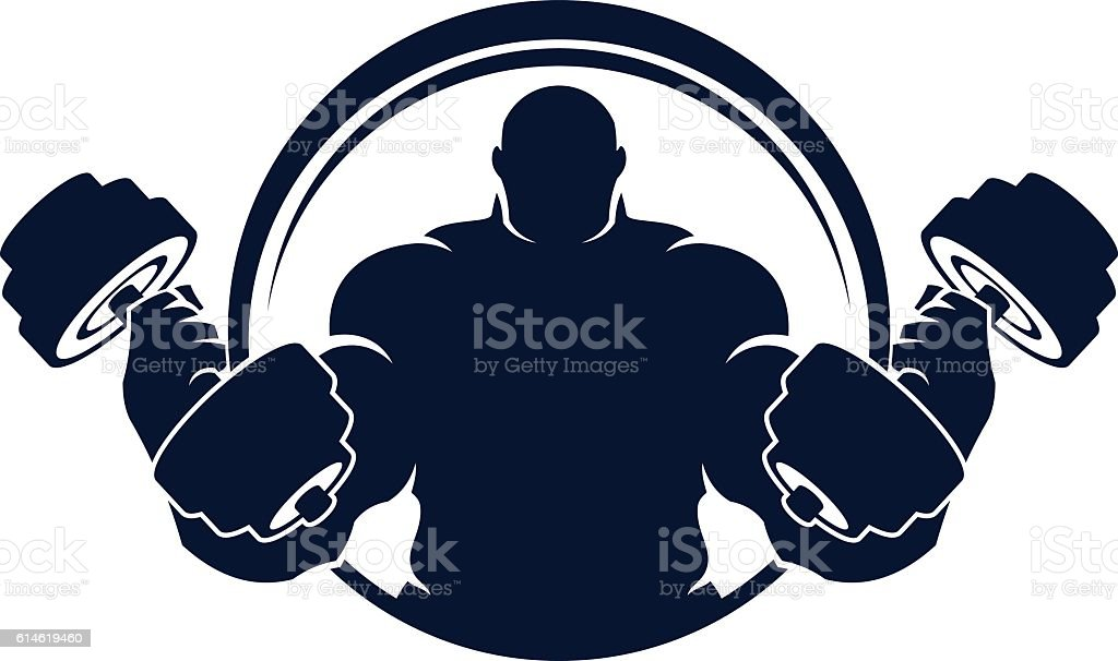 Muscled man with dumbbells vector art illustration