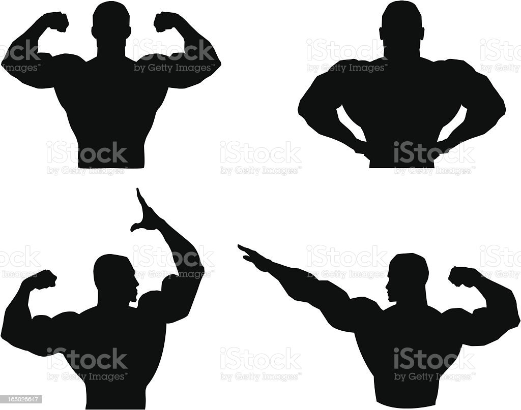 Musclemen outlines and silhouette royalty-free stock vector art