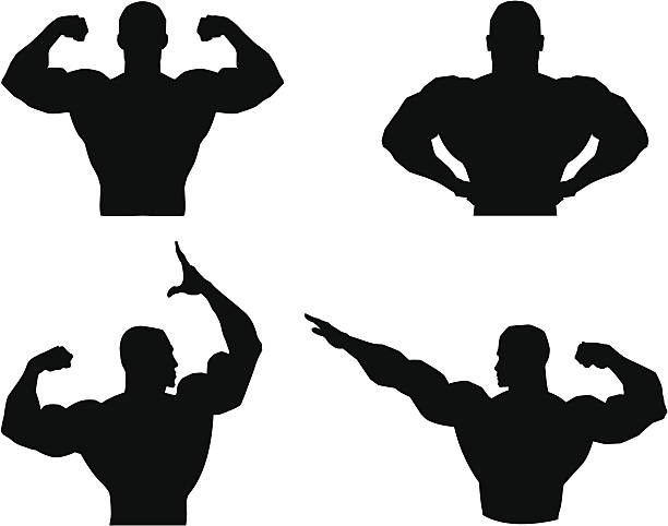Musclemen outlines and silhouette vector art illustration