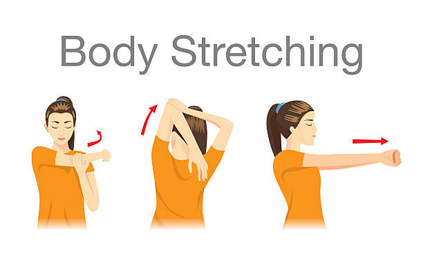 stockillustraties, clipart, cartoons en iconen met muscles stretching posture. - rek