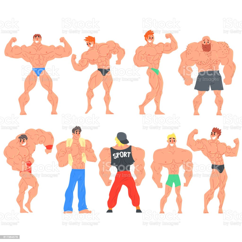 Muscly Bodybuilders Funny Characters Set vector art illustration