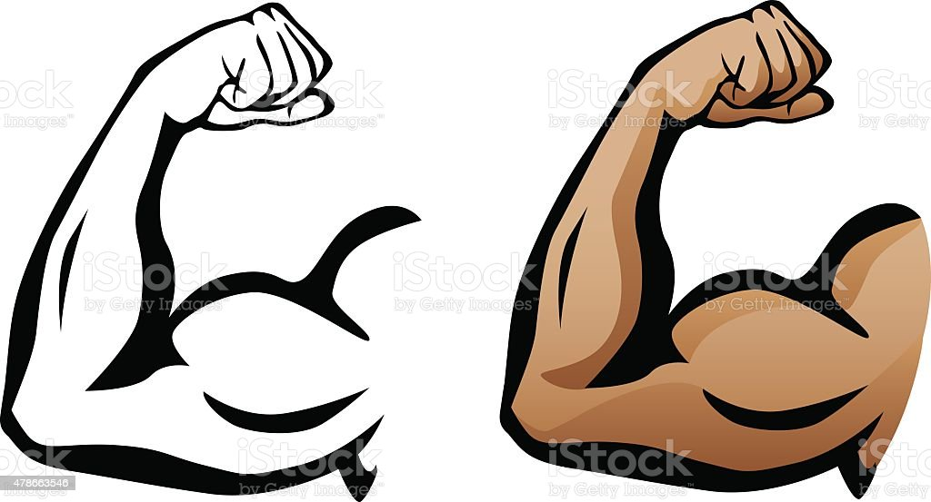 Muscular Arm Flexing Bicep Illustration vector art illustration