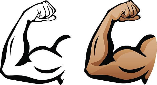 Muscular Arm Flexing Bicep Illustration vector art illustration