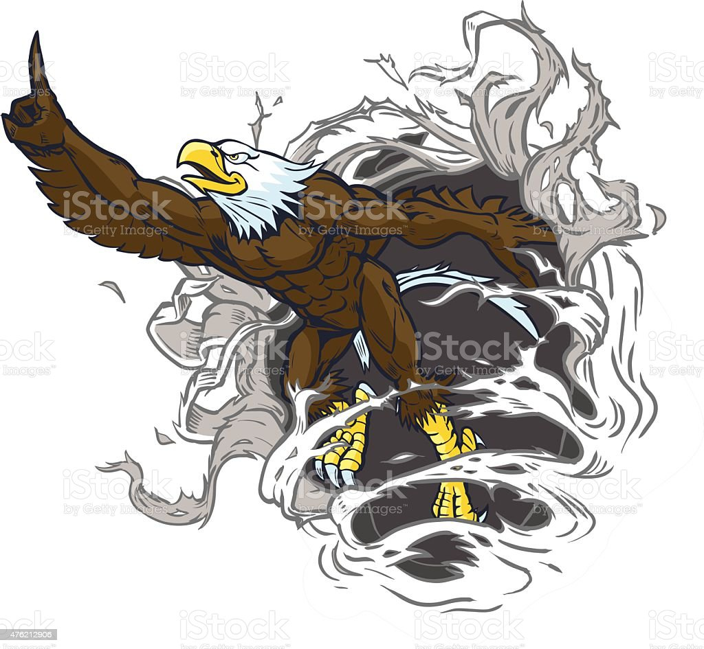 Muscular Bald Eagle Mascot Ripping Out Background vector art illustration