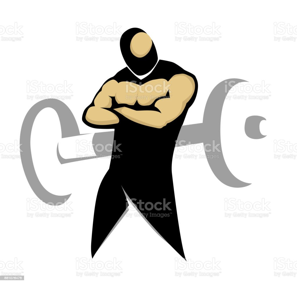 Muscular body, Gym symbol. royalty-free muscular body gym symbol stock illustration - download image now