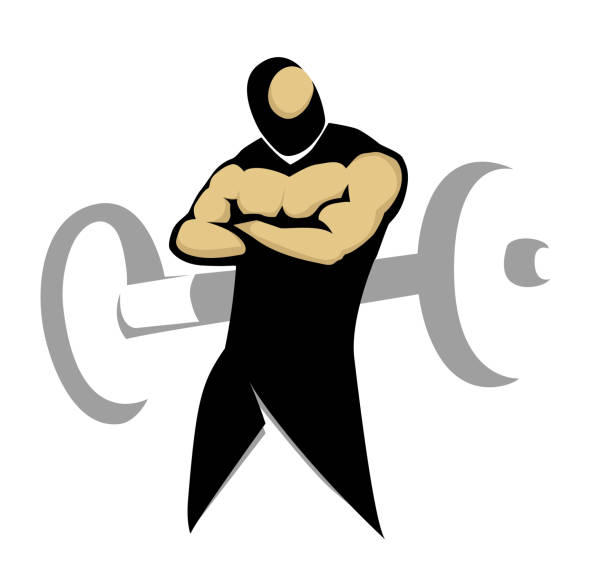 Muscular body, Gym symbol. vector art illustration