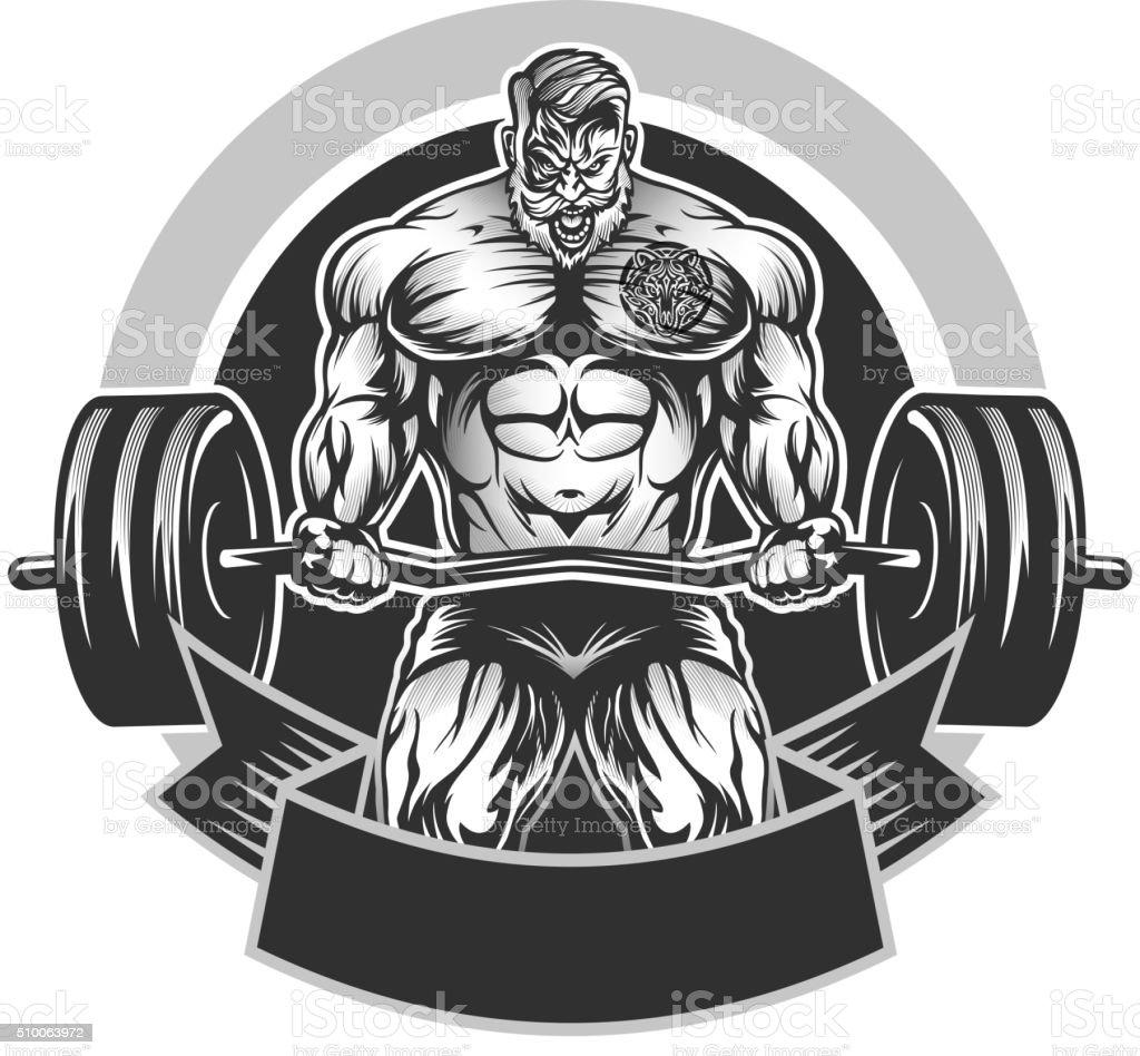 Muscular Bodybuilding emblem vector art illustration