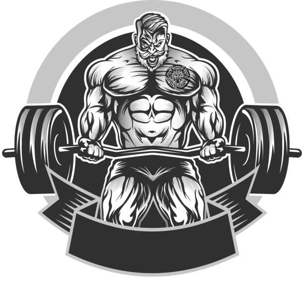 Emblema Culturismo Muscular - ilustración de arte vectorial