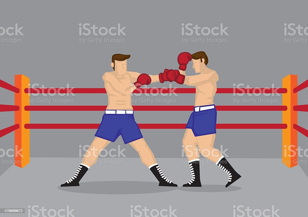 Muscular Boxers Fighting in Boxing Ring Vector Illustration vector art illustration
